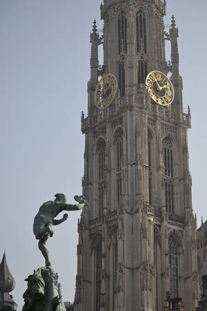 Brabo and the Antwerp Cathedral