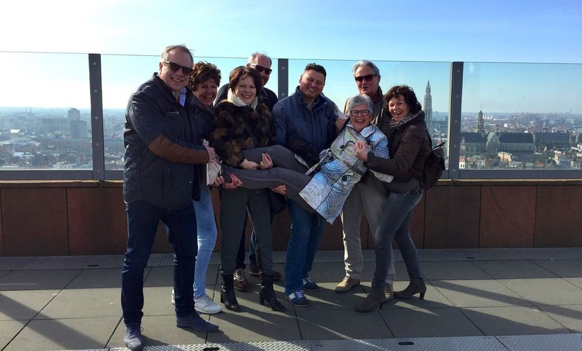 Happy People finishing their Antwerp Walking Tour on top of the MAS!